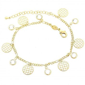 Gold Layered 03.63.1278.10 Charm Bracelet, Filigree Design, with White Cubic Zirconia, Polished Finish, Golden Tone