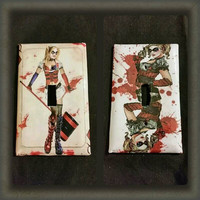 Arkham City's Harley Quinn light switch covers handmade 2 different styles to choose from