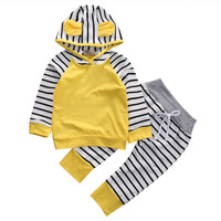 2Pcs/Set  Adorable Autumn Newborn Baby Girls boys Infant Warm Romper Jumpsuit  playsuit Hooded Clothes Outfit0-3 years