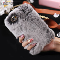 KISSCASE Luxury Rabbit Fur Case for iPhone 7 7Plus Case Winter Furry Shell Smooth Plush For iPhone 6 6s Plus Cover 5s SE Capa