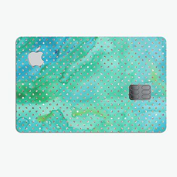 Green and Gold Watercolor Polka Dots - Premium Protective Decal Skin-Kit for the Apple Credit Card