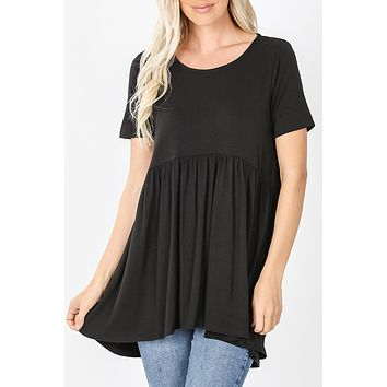 Shirring Waist Hi Low Tunic Top