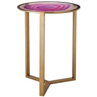 Threshold Glass Faux Agate Accent Table -Pink