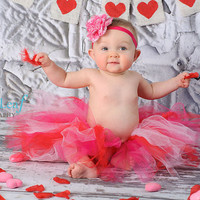 Valentine's Day Perfect Princess Girls' Tutu in Cherry Red, Hot Pink, and Soft Pink