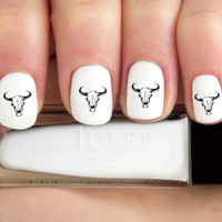 Black Outline Cow Skull Nail Decals-24 ct.