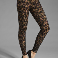 Norma Kamali Lace Leggings in Black/Nude from REVOLVEclothing.com
