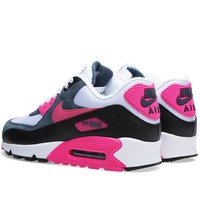 Nike Air Max 90 Womens/Mens Essential White Pink Foil Black Trainers UK Online Store