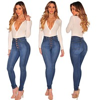 Sexy High Waist Solid Skinny Denim Pants