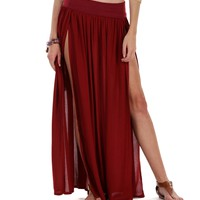 Sale-burgundy Less Is More Maxi Skirt