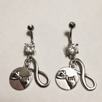 Pinky Promise BFF Infinity Best Friends Belly Ring Set