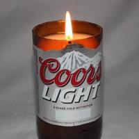 Beer Bottle Candle Upcycled from Coor Light Beer Bottle, Coors Light Candle