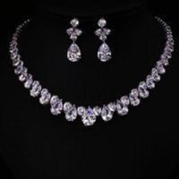 AAA cubic zirconia Clear zirconia flower and cirrus fashion style earring and necklace jewelry set