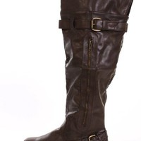 Brown Faux Leather Knee High Boots