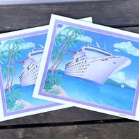 Vintage Carnival Cruise Lines Placemat Print, Holiday Cruise Ship, Set of 4, Cruise Souvenir, circa 1980s-1990s