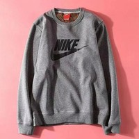 NIKE solid color casual sports extra thick style jacket jacket with round collar