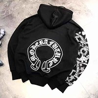 Chrome Hearts Fashion Women Men Print Hoodie Sweater Sweatshirt Top Black