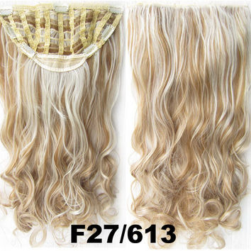 Bath & Beauty 7 Clip in Elastic Cap Wig Curly hair synthetic hair extension hairpieces wavy slice curly hairpiece SCH-888 F27/613,Hair Care,fashion Cosplay ombre 1PCS