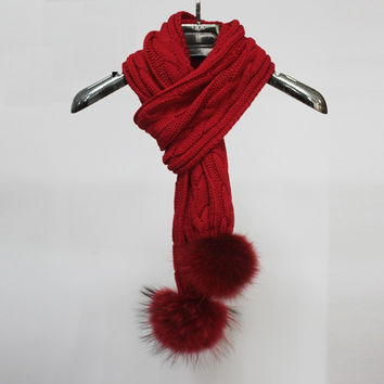 Infinity Knitted Scarf with Authentic Raccoon Fur