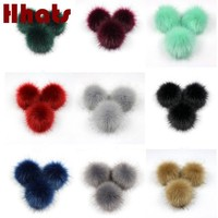 Faux Raccoon Fur Pompom Balls With Snaps Artificial Fur Pom Pom Pompons For Beanies Hats Bags Shoes Keychain