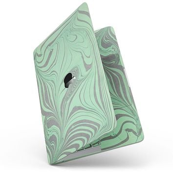 """Marbleized Swirling Green and Gray - 13"""" MacBook Pro without Touch Bar Skin Kit"""