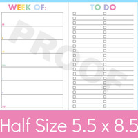 Half Size Planner Printables, To Do List Printable, a5 Planner Pages, Weekly Planner Template Printable, 5.5 x 8.5 Planner Pages, Weekly
