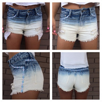 Daisy & Ombre Cut Off Shorts
