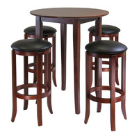 Fiona Round 5Pc High / Pub Table Set With PVC Stools
