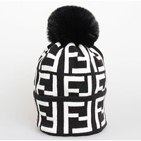 Fendi Autumn And Winter New Fashion More Letter Keep Warm Leisure Knit Women Men Cap Hat-1