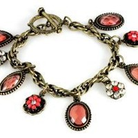 Vintage Style Rose Charm Bracelet,Fits 7 to 8 Inches,with Toggle Clasp: Jewelry: Amazon.com