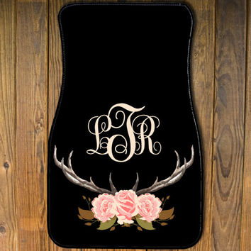 Personalized Car Mats ,Monogrammed car mats, Floral Antler Car Mats, Cute car accessories, New driver gift, Sweet 16 Gift