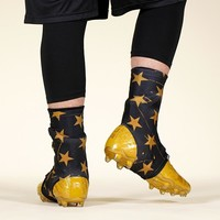 Stars Black Gold Spats / Cleat Covers