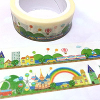 rainbow city landscape washi tape 5M colorful city fairy tale happy land deco Masking Tape castle kids outdoor playground building sticker