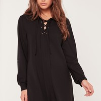 Missguided - Lace Up Placket Shift Dress Black