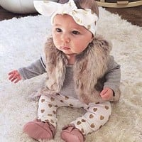 3pcs Newborn Baby Girls Clothes Long Sleeve Cotton Romper Gold Heart Pant Headband Outfit Toddler Kids Clothing Set 0-24M