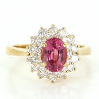 Vintage Natural Pink Topaz Diamond Princess Engagement Ring 18 Karat Gold Fine 7