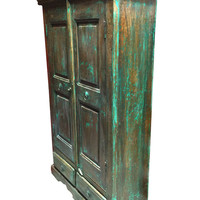 Antique Storage Cabinet Armoire Distressed Green Wooden Furniture