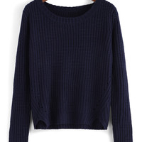 Blue Long Sleeve Cropped Knit Sweater