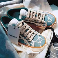 LV Louis vutitton GG Tennis 1977 Embroidered breathable casual sports shoes sneakers Light Blue
