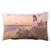 Girl at the Beach Pillow