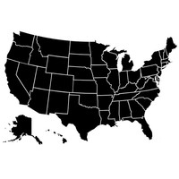 United States of America Map Decal Wall Art US Country Map with 50 States Edu...