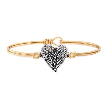 Angel Wing Heart Bangle Bracelet with Crystals