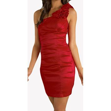 Rosette Studded Single Strapped Red Short Cocktail Dress