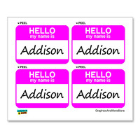 Addison Hello My Name Is - Sheet of 4 Stickers
