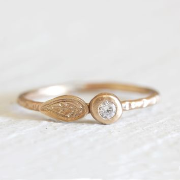 Gold, Diamond and Leaf ring