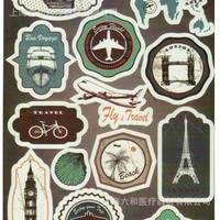 Aviation Design PVC Waterproof Laptop Stickers Suitcase For Refrigerator Car Ipad Phone Stickers