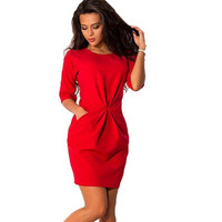 NEW Fashion Women O-Neck Half Sleeved Silm Dress Bodycon Office Dress Autumn Red Blue Party Mini Dress Plus Size LJ7215E