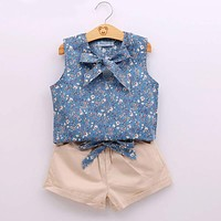 Kids Clothes Flower T shirt + Pant Baby Suits Children Clothing Set Baby Girls Clothes