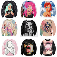 Stars Cartoon Sexy Lady skull Punk/Marilyn Monroe Print 3d Sweatshirt Women/Men Outerwear Rock hoodies size S-3XL free shipping
