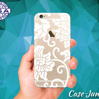 White Floral Vines Flower Cutout Cute Tumblr New Clear Case For iPhone 5/5s, iPhone 5C, iPhone 6 and iPhone 6 +, iPhone 6s, iPhone 6s Plus +