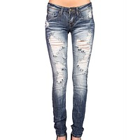 Final Sale - Machine Jeans - Distressed Skinny Jeans - Medium Wash